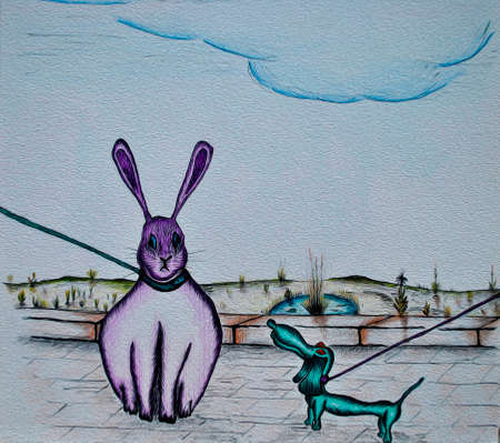 stupor: Funny dog and rabbit. Sketch drawing