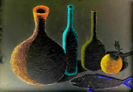 Abstract background with colored bottles, fish and orange oil painting