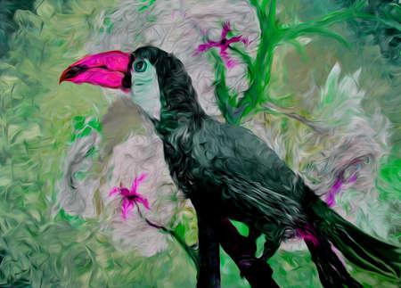 Toucan oil hand drawn illustration