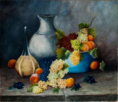 Pintura de la fruta y aceite de vino Foto de archivo - 44193370