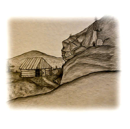 forties: House in the mountains image Illustration