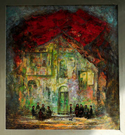 the courtyard: The courtyard in the old town oil Painting Illustration
