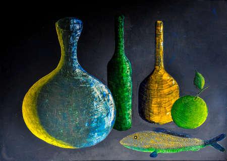 Fruits et bouteilles encore d'huile de la vie sur toile Banque d'images - 44614341