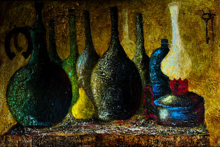 キャンバスの絵画油彩果物と瓶のある静物