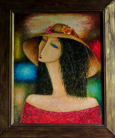 sad lonely girl: a lady in a hat oil painting