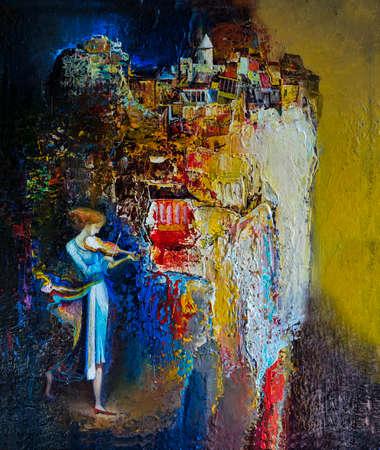 Jonge vrouw op rots rand spelen viool olieverfschilderij Stock Illustratie
