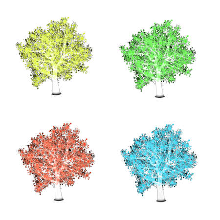 Four season trees. Spring, summer, autumn, winter