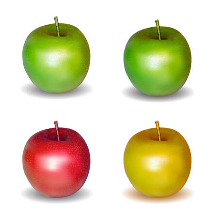 Set of color apples isolated on white background