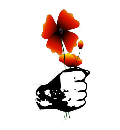 Hand holds a heap of flowers.Vector Illustration