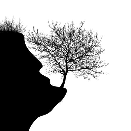 Realistic silhouette of a tree on a cliff vector illustration 向量圖像