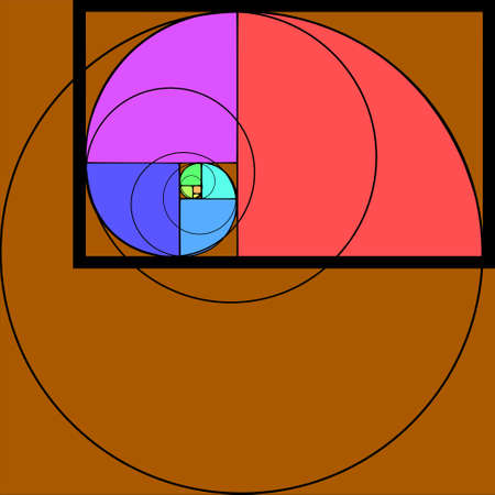 Golden section, ratio, proportion, harmonious concept with seven circles. Vector. Illustration