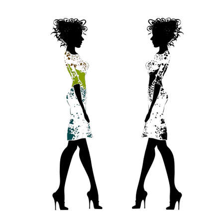 Two young elegance fashion girl in a white background