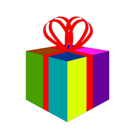 Colorful gift box with red ribbon