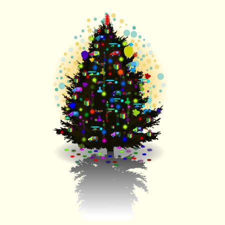 vector illustration of decorated christmas tree Illustration