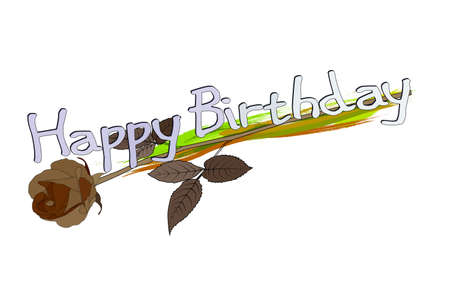 Happy Birthday Greeting Card with flower Illustration