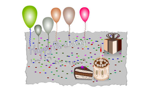 Happy Birthday Greeting Card  with balloons and cake Illustration