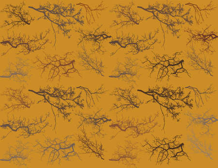Seamless pattern with tree branches silhouette (Vector illustration). Illustration