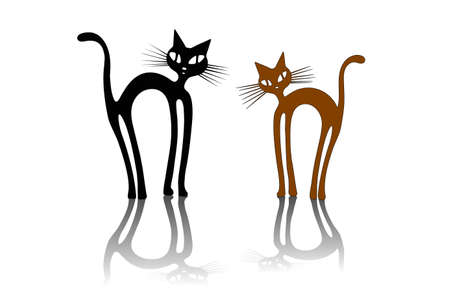 Two cats silhouettes on white background Illustration