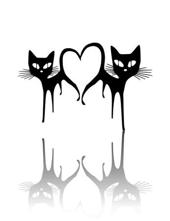Love of two cats. Two cats silhouettes on white background (Vector illustration).