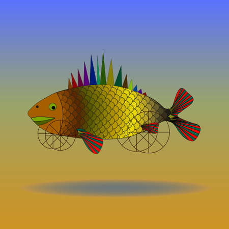 Fish, art, surrealism. Fish on wheels flying over the desert Stock Illustratie