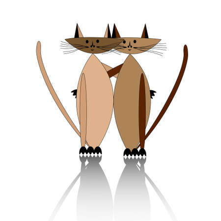 Love of two cats. Two cats silhouettes on white background Illustration
