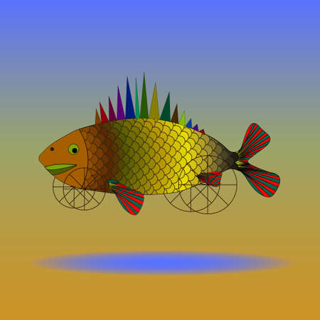 Fish, art, surrealism. Fish on wheels flying over the desert  イラスト・ベクター素材