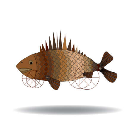 Fish, art, surrealism. Fish on wheels flying over the desert Vettoriali