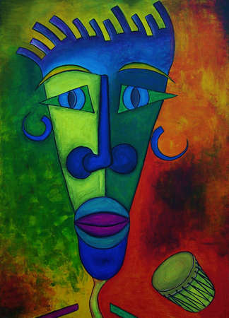 african with drum abstract oil painting