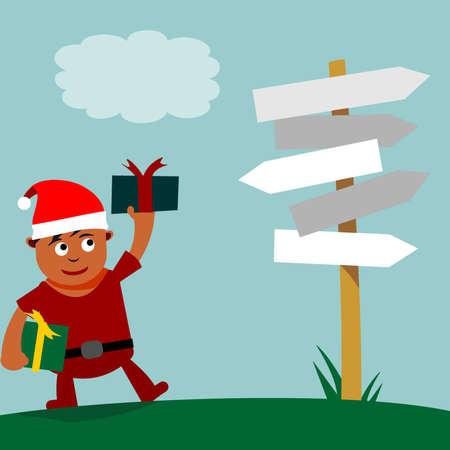 deciding: Young Santa Claus deciding where to give gifts