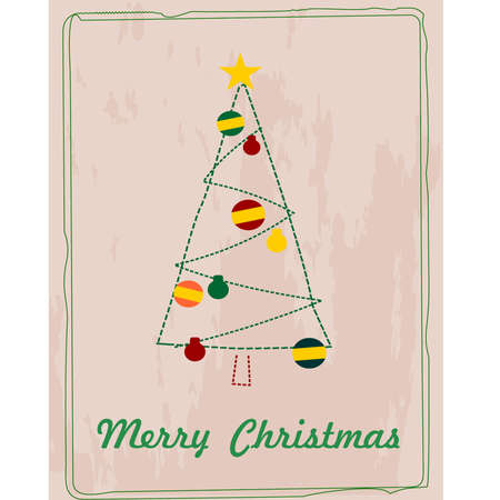 Retro vector Christmas card with Merry Christmas text  Christmas tree with brown paper texture