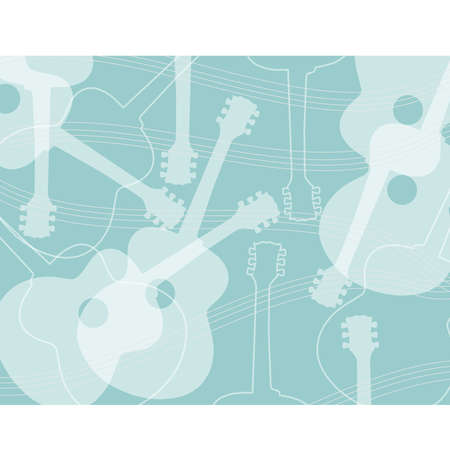 Seamless pattern with acoustic guitar silhouettes abstract vector  Guitar abstract background