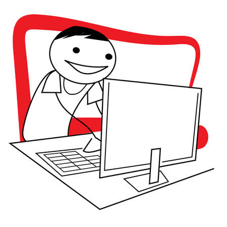 Stick figure guy working at the computer Vector