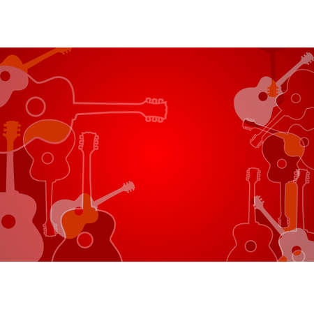 Abstract acoustic guitar silhouettes background