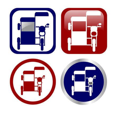 Philippine tricycle icon set