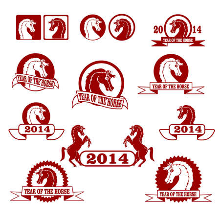 2014 year of the horse signs and labels collection