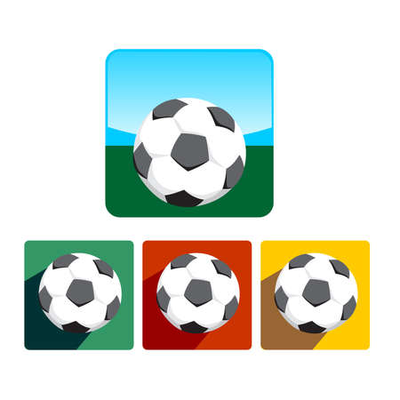 Colorful soccer ball icon set Illustration