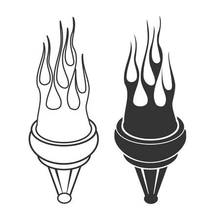 Set of flaming torch isolated design