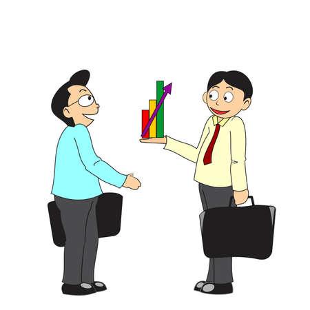 Two businessmen talk about profit Illustration