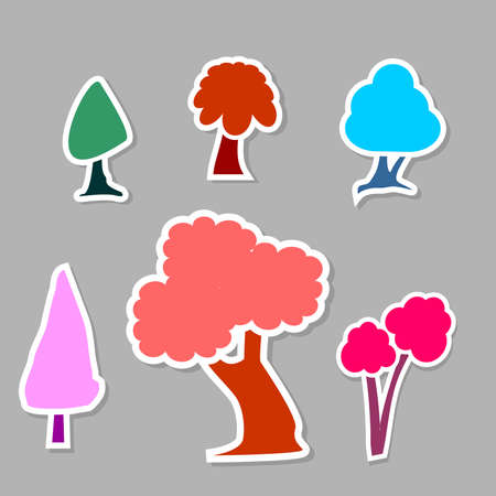 Colorful kiddie tree icon sticker set