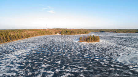 Drone view on river with melting ice, sunny spring weather. Zdjęcie Seryjne