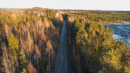 Drone view of spring rural road in yellow pine forest with melting ice lake