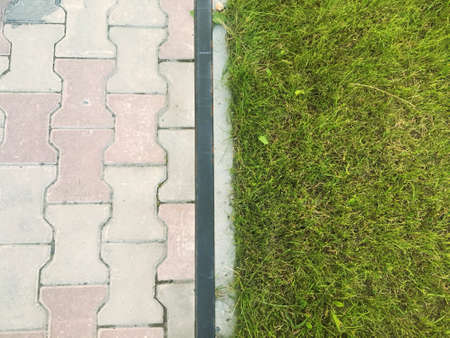 Separated background with paving stones and grass Zdjęcie Seryjne