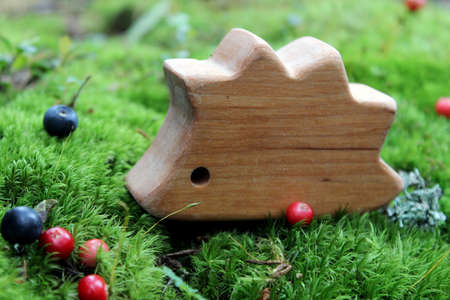 Fairy-tale wooden hedgehog toy on the wild moss and some berries in the forest Zdjęcie Seryjne