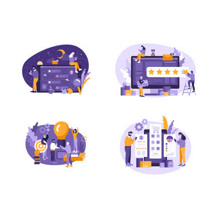 Vector illustration, people communicate through internet and messengers, vector graphics of people working with charts and data. Business communication on idea with devices - laptop, smartphones.