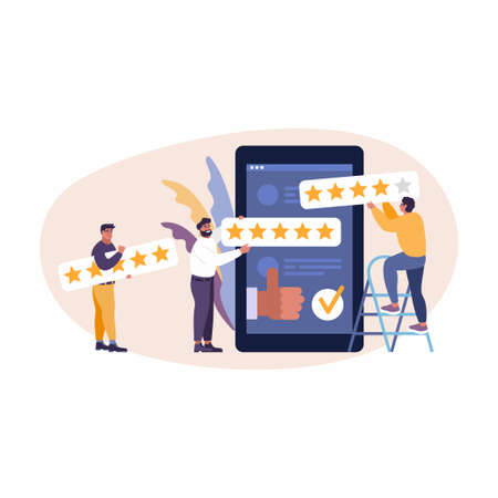 Vector online app review. People are giving 5 stars, feedback and rating. Thumb up, stars line, like icons. Flat vector illustration for web, mobile app, UI, UX, site. 向量圖像