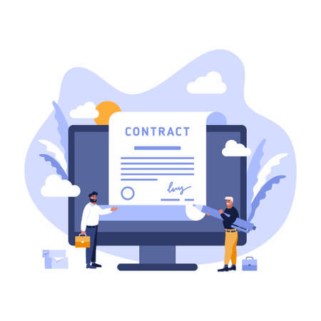 Contract Sign Up Paper Document between Businessmen. Flat vector illustration of Digital Signature Agreement on a big screen - worldwide technological business concept Stockfoto - 142057350