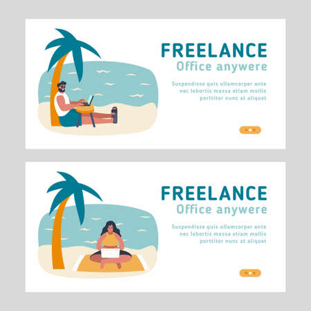 Set of 2 landing pages for freelance topic. Man and woman working with laptops from sand beach at vacation. Working from any place vector flat concept illustration for online remote job.