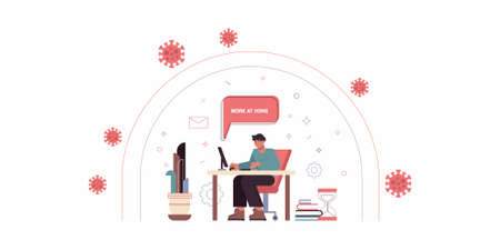 Vector illustration in trendy flat linear style - man character working at the laptop sitting in the armchair with cat - home office and remote creative team member - outsource and freelance work