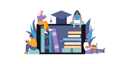 E-learning education concept flat vector illustration. People accessing knowledge and online library. Online education and books access. Stay at home - learn new things with online services