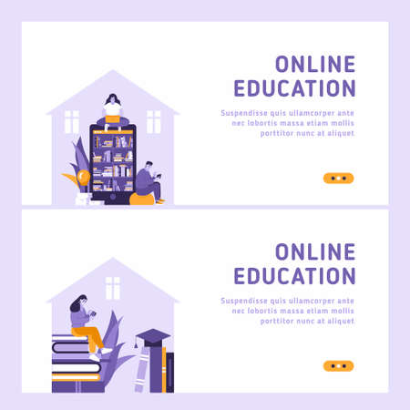 Online education concept set of 2 flat vector landing pages. Big smartphone as a bookshelve, big books, woman uses laptop, man is using smartphone. People reading and educating with gadgets